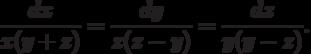 \frac{dx}{x(y+z)}=\frac{dy}{z(z-y)}=\frac{dz}{y(y-z)}.