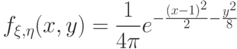 f_{\xi,\eta}(x,y)=\frac 1{4\pi}e^{-\frac{(x-1)^2}2-\frac{y^2}8}