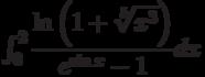 \int_{0}^{2} \dfrac{\ln \left(1+\sqrt[5]{x^3} \right) }{e^{\sin x}-1} dx