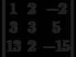 \begin{vmatrix}          1 & 2 & -2 \\          3 & 3 & 5 \\          13 & 2 & -15           \end{vmatrix}