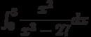 \int_{0}^{3} \dfrac{x^2}{x^3-27} dx
