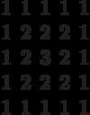 \begin{matrix}1&1&1&1&1\\1&2&2&2&1\\1&2&3&2&1\\1&2&2&2&1\\1&1&1&1&1\end{matrix}
