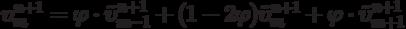 \[\upsilon _m^{n + 1} = \varphi  \cdot \tilde \upsilon _{m - 1}^{n + 1} + (1 - 2\varphi )\tilde \upsilon _m^{n + 1} + \varphi  \cdot \tilde \upsilon _{m + 1}^{n + 1}\]