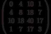 \left( \begin{array}{cccc}0 & 4 & 10 & 1 \\ 4 & 8 & 18 & 7 \\ 10 & 18 & 40 & 17 \\ 1 & 7 & 17 & 3%\end{array}%\right)