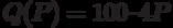 Q (P) = 100 – 4 P
